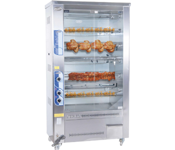 Chicken grill machines with double display and gas